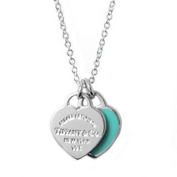 Tiffany&Co.迷你雙色雙心純銀項鍊 經典藍