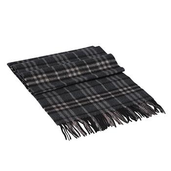 BURBERRY 經典細格紋喀什米爾羊毛圍巾-深灰色3641956