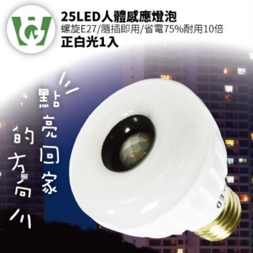 25LED標準螺旋E27型感應燈泡(正白光)