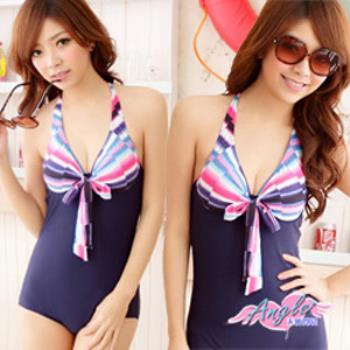 【天使霓裳】勘藍海邊 連身式泳衣-SQ3030藍