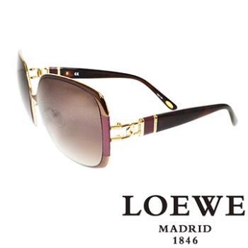 LOEWE 金屬皮革太陽眼鏡(紫) SLW405-0R26