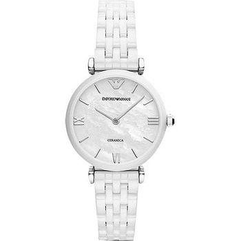ARMANI Retro 時尚薄型陶瓷女錶-珍珠貝x白AR1485