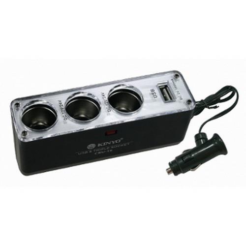 3孔車用點煙器+USB充電擴充座(CRU-16)