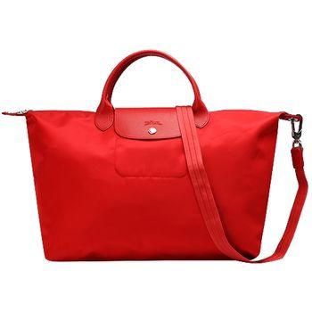 LONGCHAMP尼龍短把側背/手提包-大-番茄紅-1630578