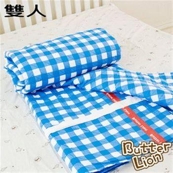 【奶油獅】格紋系列台灣製100%精梳純棉薄被套-雙人(3色可選)