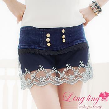 【lingling】接蕾絲網紗飾排釦牛仔低腰褲裙(率性藍)A941