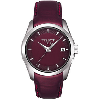 TISSOT T-Trend Couturier Lady 時尚簡約腕錶-酒紅T0352101637100
