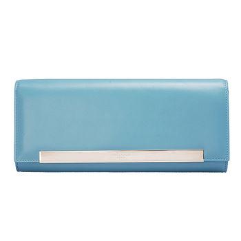 YSL 經典BO POCHE LUTETIA系列銀色長牌小牛皮磁釦手拿包(天空藍)324826-BOR0N-4908