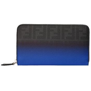 FENDI 經典FF LOGO浮水印X漸層防刮牛皮拉鍊手拿長夾(寶藍X黑色)7M0198-00N8N-F0R3V