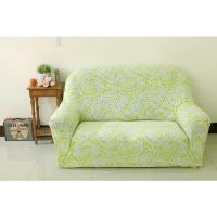 【Osun】一體成型防蹣彈性沙發套、沙發罩(富麗堂皇-嫩綠鳳羽圖騰款)2人座
