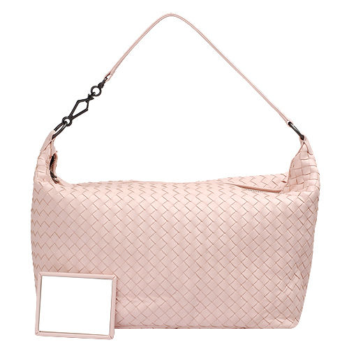 BOTTEGA VENETA 經典編織小羊皮梯形肩背包(玫瑰粉紅色)309065-6808