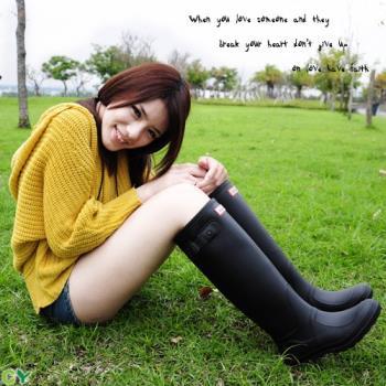 【Sanho雨鞋】輕雅風時尚防水長筒雨靴/黑色