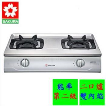SAKURA櫻花不銹鋼雙內焰安全檯面式瓦斯爐(液化瓦斯)G-5700K