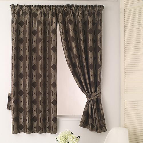 【巴芙洛】米勒咖啡色緹花落地遮光窗簾300×210