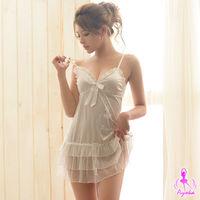 【Ayoka】奶白細肩帶柔緞蛋糕紗裙睡衣