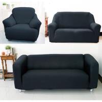 【Osun】一體成型防蹣彈性沙發套、沙發罩素色款1+2+3人座(尊爵黑)