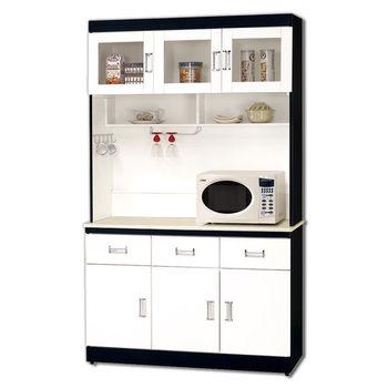 【顛覆設計】安迪黑白配4尺石面碗盤櫃組
