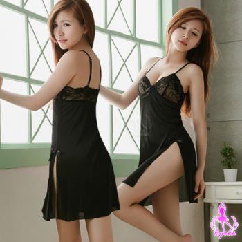 【Ayoka】中長版黑色柔緞側高衩性感睡衣