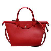LONGCHAMP LE PLIAGE Heritage紀念款牛皮手提斜背微笑包(胭脂紅)1207813-030