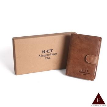 【H-CT】禮盒組簡約質感扣式真皮中夾(MW1989-Z)