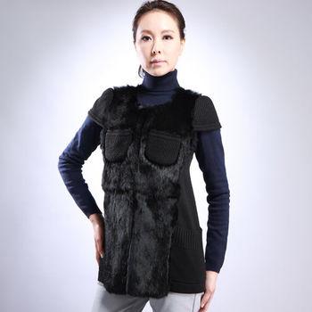【IKON】簡約奢華針織皮草短袖外套 -黑