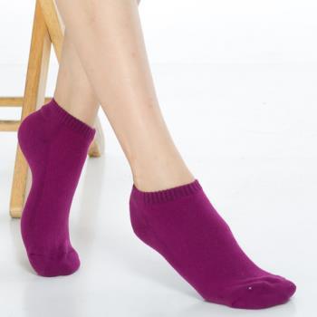 【KEROPPA】可諾帕細針毛巾底氣墊超短襪x4雙(男女適用)C91005紫紅