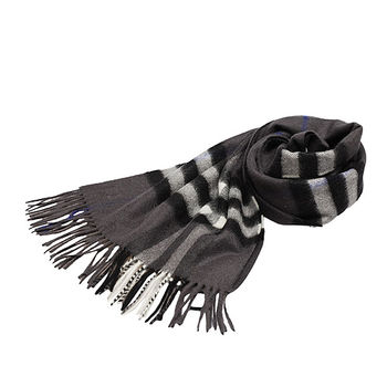 BURBERRY 經典大格紋喀什米爾羊毛圍巾(168CM-藍灰色)3942869-PEWTER