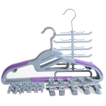 【潔夫人】S型超薄防滑衣架(72件超值組/紫色)