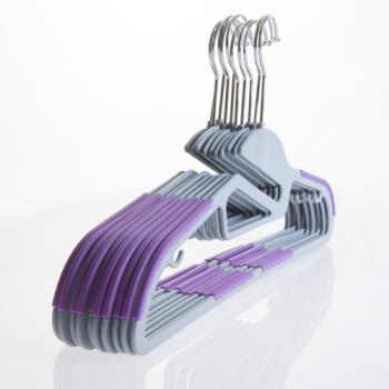 【潔夫人】S型超薄防滑衣架(20支/紫色)