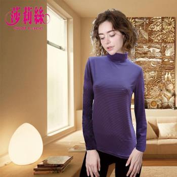 【莎莉絲】個性橫紋半高領內磨毛發熱衣/M-L.L-XL(紫黑條紋)