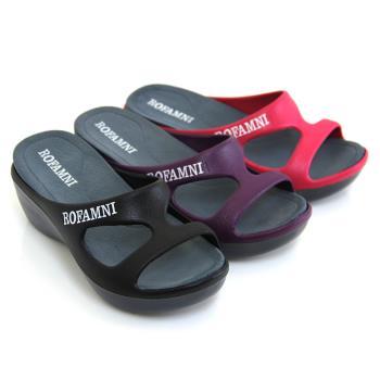 【Pretty】ROFAMNI 若梵妮 德國PU環保素材防水拖鞋-桃紅色、紫色、黑色