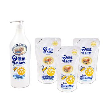 優生蔬果奶瓶清潔劑1000ml x 1瓶+900ml補充包 x 3包(柚香)