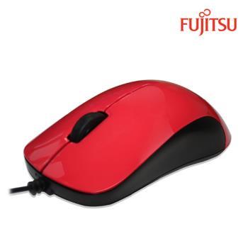 FUJITSU富士通USB有線光學滑鼠QH300(紅)