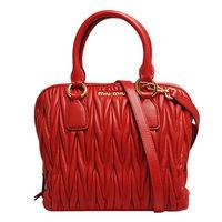 MIU MIU Matelasse' Lux羊皮皺摺三層手提/斜背波士頓包(中-亮紅)RL0097-ROSSO