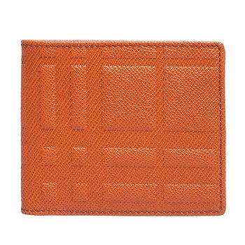 【BURBERRY】浮雕格紋小牛皮多卡雙折短夾 亮橘色(3945559-BRIGHT CLEME)
