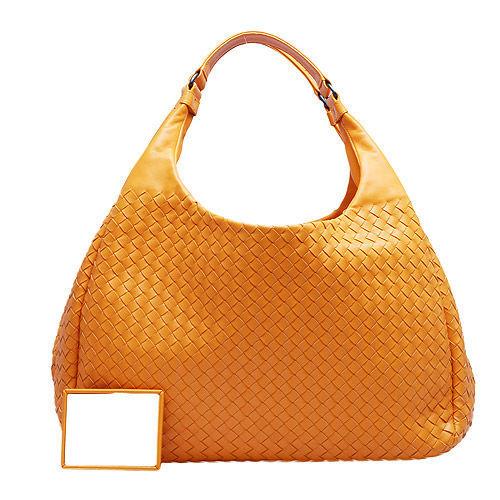 BOTTEGA VENETA 經典羊皮編織雙手柄磁釦肩背包(亮橘)124864-7687