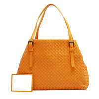 BOTTEGA VENETA 經典羊皮編織釦環提把肩背包(小-亮橘)337260-7687