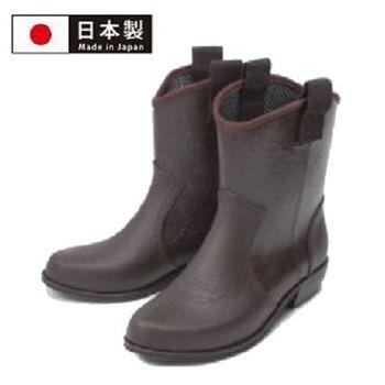 【Charming】日本製 時尚造型【個性馬靴式雨鞋】-深咖啡色-800
