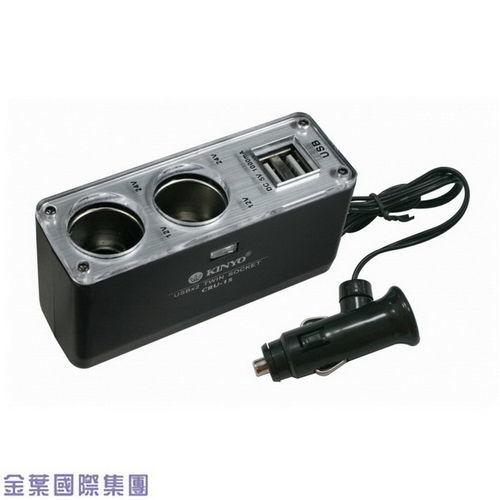 2孔+2孔1A充電USB 車用點煙器延長擴充座