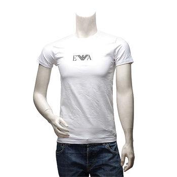 EMPORIO ARMANI 經典款品牌LOGO素色棉質短袖圓領修身T恤(白-S號)111267-04710-WHITE-S