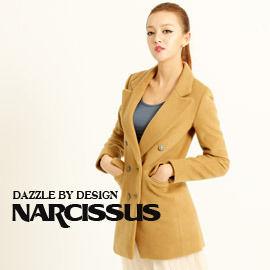 [NARCISSUS] 冬季必備款 長版合身羊毛西裝大衣駝色-S-M