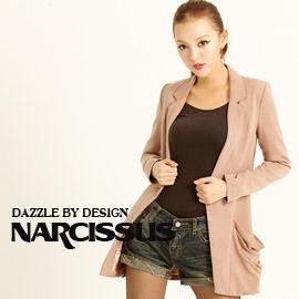 [NARCISSUS]TENCEL天絲棉寬鬆感長版西裝外套 煙燻粉