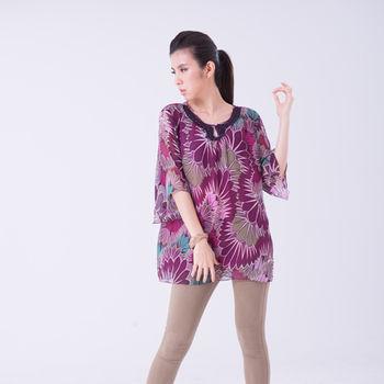 七彩光-純蠶絲紫漾花圓領上衣(M-XL)