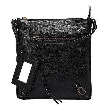 BALENCIAGA 經典小釦小羊皮細背帶單肩機車包(黑)310250-1000