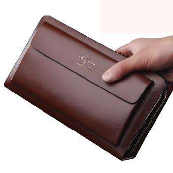 PUSH! 男士長夾頭層牛皮手拎包商務包隨身包可放7吋平板 539
