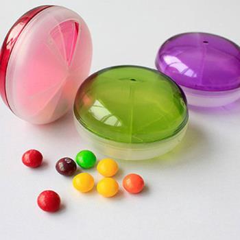 【iSFun】糖果飛碟*透明旋轉藥盒/三色+隨機色