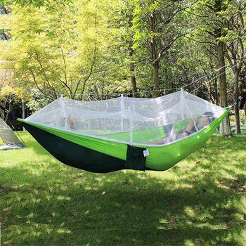 PUSH! 戶外休閒用品防蚊式吊床 網狀吊床 午睡床吊椅(帶蚊帳)