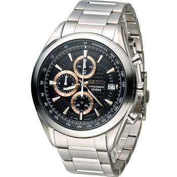 SEIKO 精工錶三眼計時錶 8T67-00A0K SSB199P1 黑x玫瑰金色