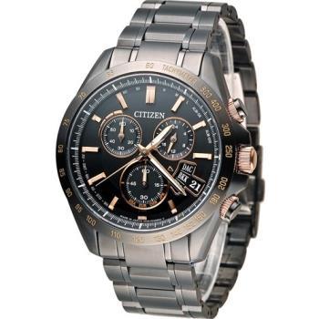 星辰 CITIZEN 五局電波萬年曆計時限定腕錶 BY0135-57E 黑x玫瑰金色