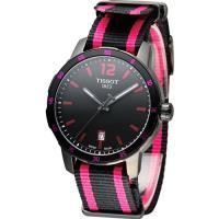 天梭 TISSOT Quickster 時捷系列時尚運動腕錶 T0954103705701 黑x桃紅